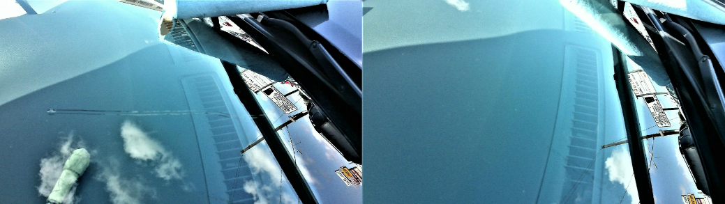 Before and After Image of Fix Cracked Windshield Houston